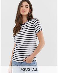 ASOS ASOS DESIGN Tall - T-shirt girocollo a righe - Blu