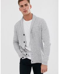 SELECTED Organic Cotton Knitted Shawl Cardigan In Gray