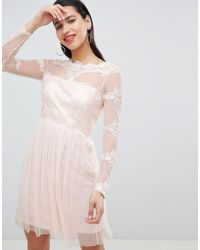 Vila - Mesh Dress With Lace Inserts - Lyst
