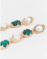 ASOS – farbene Ohrringe mit Perlen- und Steinanhänger - Mettallic