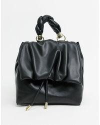 TOPSHOP Ruched Flap Backpack - Black