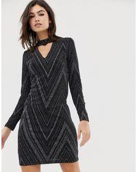 Oasis Robe moulante pailletée à découpes - Noir