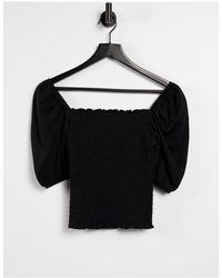 ONLY Shirred Top With Puff Sleeve - Black