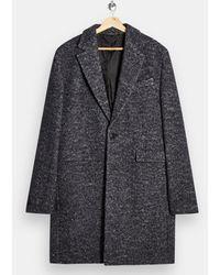 TOPMAN Черное Пальто Из Букле -черный - Многоцветный