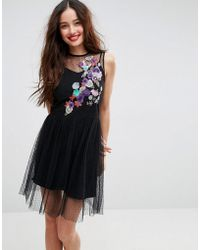 ASOS - Sleeveless Embroidered Dobby Mesh Skater Dress - Lyst