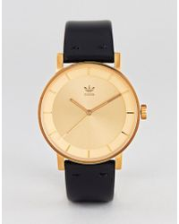 adidas - Z08 District Leather Watch In Black/gold - Lyst