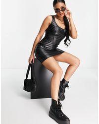 Naanaa Pu Bodycon Mini Dress - Black