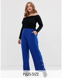 Simply Be Wide Leg Tailored Pants With Button Detail - Blue