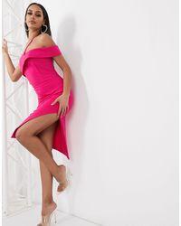 Lavish Alice One Shoulder Overlay Midi Pencil Dress With Thigh Split - Pink
