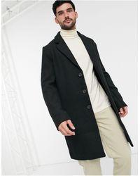 ASOS Черное Пальто С Добавлением Шерсти Без Подкладки - Черный