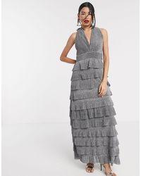Forever Unique - Ярусное Платье Макси Серебристого Цвета -серебристый - Lyst