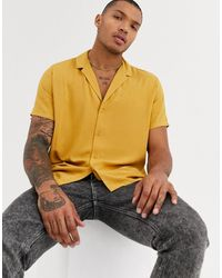 ASOS Relaxed Fit Viscose Shirt With Low Revere Collar-yellow