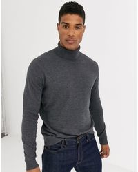SELECTED Cotton Silk Knitted Roll Neck - Gray