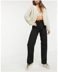 Dr. Denim – Echo – Jeans mit weitem Bein und hoher Taille - Schwarz