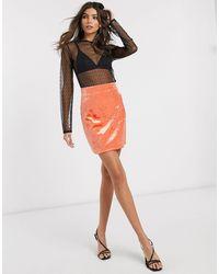 & Other Stories Bonded Velvet Mini Skirt - Orange