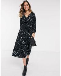 New Look Черное Платье Макси В Горошек С V-образным Вырезом -черный