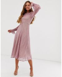 Ghost Ayesha High Neck Check Print Georgette Midi Dress - Pink