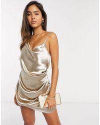 ASOS - Блестящее Атласное Платье-комбинация Мини Цвета Шампанского - Lyst