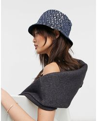 River Island Jacquard Monogram Bucket Hat - Blue