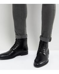 ASOS - Wide Fit Lace Up Boots In Black Faux Leather - Lyst