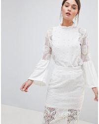 Zibi London - Zibi Pearl And Crochet Blouse - Lyst