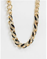 ASOS Necklace With Mixed Black And Gold Chain - Metallic