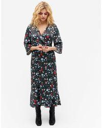 Monki Атласное Платье Миди С Запахом И Цветочным Принтом Amanda-многоцветный - Синий