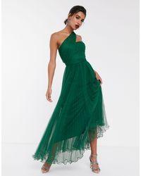 ASOS Зеленое Платье Макси Из Тюля, На Одно Плечо, С Проволочной Отделкой По Краю - Зеленый