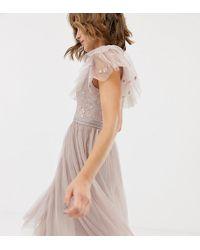 Needle & Thread - Vestito skater in tulle rosa con corpino ricamato - Lyst
