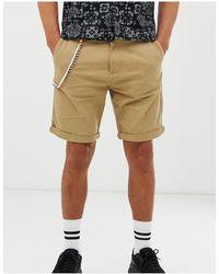 Bershka Slim Cargo Shorts - Natural