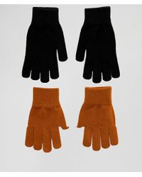 Monki Knit 2-pack Gloves In Black And Mustard - Multicolour