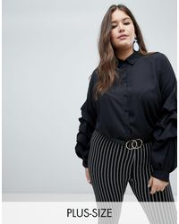 AX Paris Рубашка Со Сборками На Рукавах -черный - Многоцветный