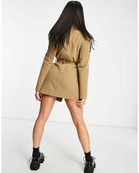 4th & Reckless Светло-коричневое Платье-блейзер С Поясом -серый