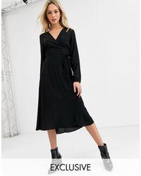 New Look Long Sleeve Wrap Midi Dress - Black