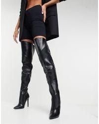 ASOS Kara - Gewatteerde Over-de-knie-laarzen - Zwart