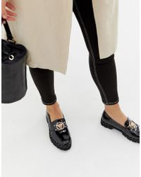Glamorous - Black Chunky Flat Shoes With Gold Lion Trim - Lyst