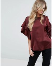 Y.A.S Satin Top With Ruffle Sleeves - Red