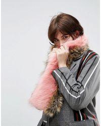 ASOS - Faux Fur Colour Block Scarf - Lyst