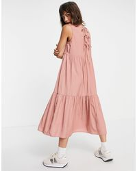 Vila Tiered Midi Dress - Pink