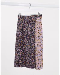 Band Of Gypsies Band Of mixed floral print wrap skirt-Negro - Multicolor