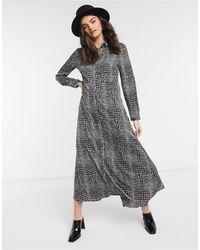 Vero Moda Платье-рубашка Макси С Принтом Черно-белого Цвета Под Змеиную Кожу -мульти - Серый