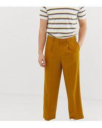 Noak Slim Fit Smart Trousers In Textured Mustard - Yellow