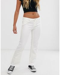 Pieces - Flared Jeans In White - Lyst
