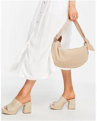 Hvisk Vegan Moon Shoulder Bag With Knot Handle Detail - Natural