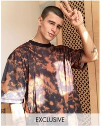 Collusion Oversized Spliced T-shirt With Tie Dye And Contrast Stitch Detail - Multicolor