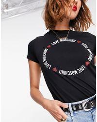 Love Moschino - Черная Футболка С Круглым Логотипом -черный - Lyst