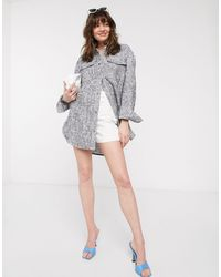 & Other Stories Organic Cotton Oversized Tweed Shirt - Blue