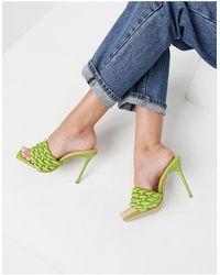 SIMMI Shoes Мюли Оливково-зеленого Цвета С Переплетенным Верхом Simmi London Brandy-зеленый Цвет
