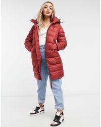 G-Star RAW Long Slim Hooded Padded Coat - Red