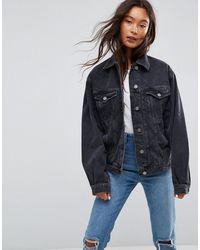 ASOS Veste girlfriend en jean - délavé - Noir